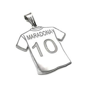 Ciondolo in Argento Maglia Diego Maradona 10